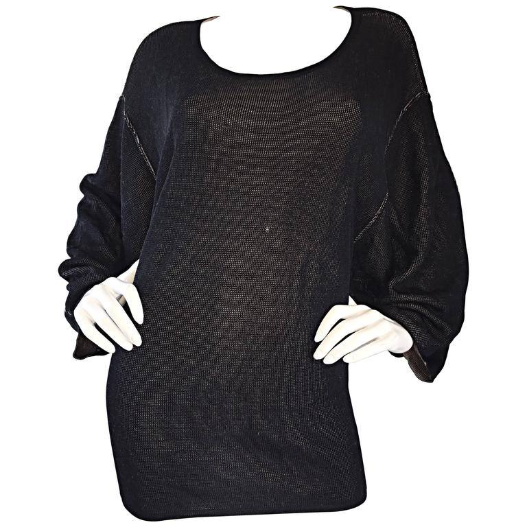 1980s Azzedine Alaia Black Dolman Sleeve Vintage 80s Mini Dress or Sweater