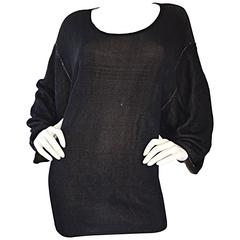 1980s Azzedine Alaia Blak Dolman Sleeve Vintage 80s Mini Dress or Sweater