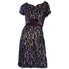 Beautiful 1950s 50s Navy Blue Lace & Nude Silk A - Line Fit & Flare Bow Dress