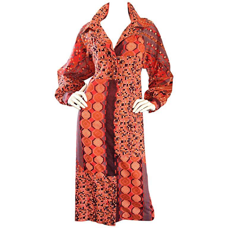 1970s Jay Morley For Fern Viollette ' Tetris ' Print 70s Vintage Shirt Dress