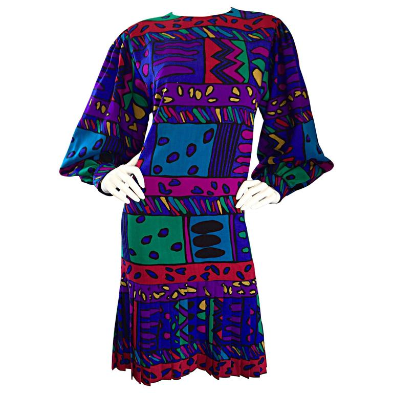 1980s Helga Howie Op - Art Vintage Drop Waist ' Heart ' Print Colorful Dress For Sale