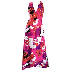 Incredible 1970s Adele Simpson Oriental Asian Inspired Vintage Halter Maxi Dress