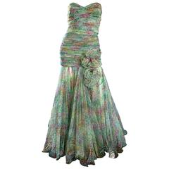 Breathtaking Vintage Jean Jacques Bertrand Couture Strapless Watercolor Gown