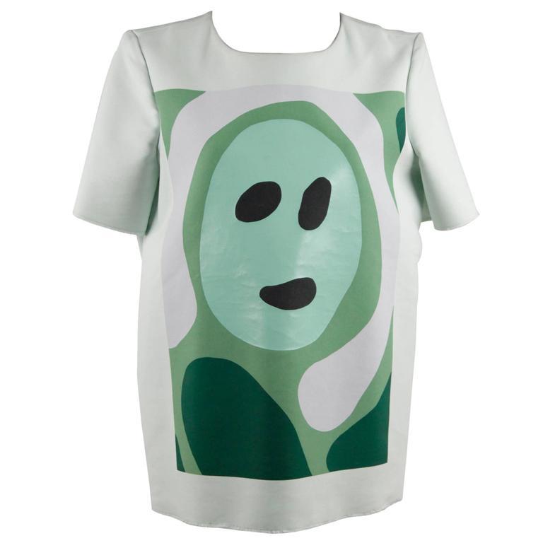 MARNI Light Green Cotton Blend T SHIRT Top w/ FACE Print SIZE 42