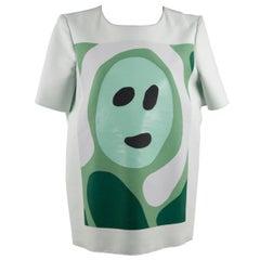 Marni Light Green Cotton Blend T Shirt Top Face Print Size 42