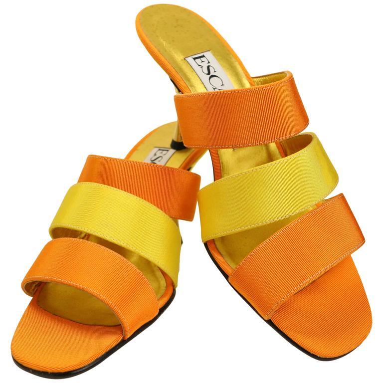 Escada Bi Tones Orange and Yellow Straps Sandals Heels