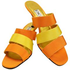 Escada Bi Tones Orange and Yellow Straps Sandals Heels
