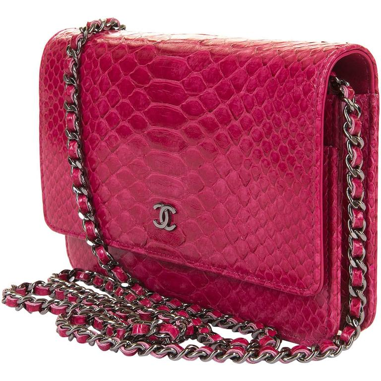 SO SO RARE Chanel 'Tres Chic' WOC Bag in Fushia Pink Python with SHW - Pristine  1