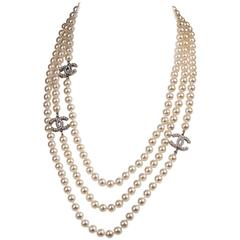 WOW Chanel 3-String Pearl Sautoir with 3-Inset Interlocking 'C's in Faux Pearl