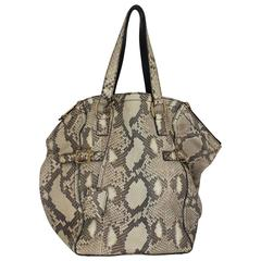 YSL Rive Gauche Earthtone Python Large Downtown Tote - GHW
