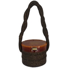 Vintage Brown Beaded Bag with Bakelite Bucket Top and Woven Strap - circa 1940's
