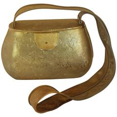 Rosenfeld Gold Fully Etched Metal Shoulder Bag with Mesh Strap - circa 1960's