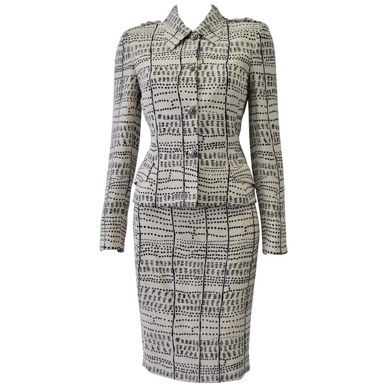 Rare and Exceptional Atelier Versace Dots and Stripes Print Silk Skirt Suit