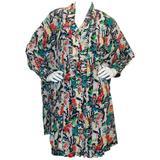 Chanel Multi-color Silk Printed Dress & Coat Set - 42 - circa 1980's