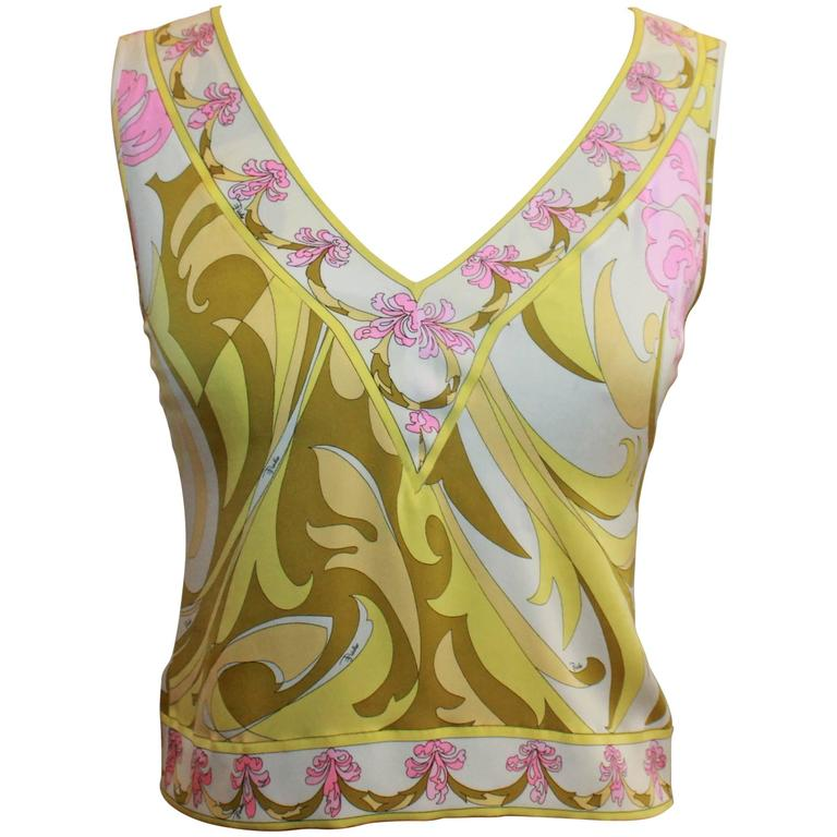 Emilio Pucci Yellow, Green & Pink Printed Sleeveless Top - 4 - 1980's  For Sale