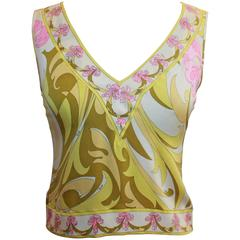 Emilio Pucci Yellow, Green & Pink Printed Sleeveless Top - 4 - 1980's