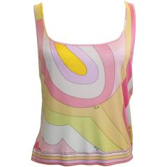 Emilio Pucci Pink & Orange Silk Jersey Sleeveless Striped Tank - 14