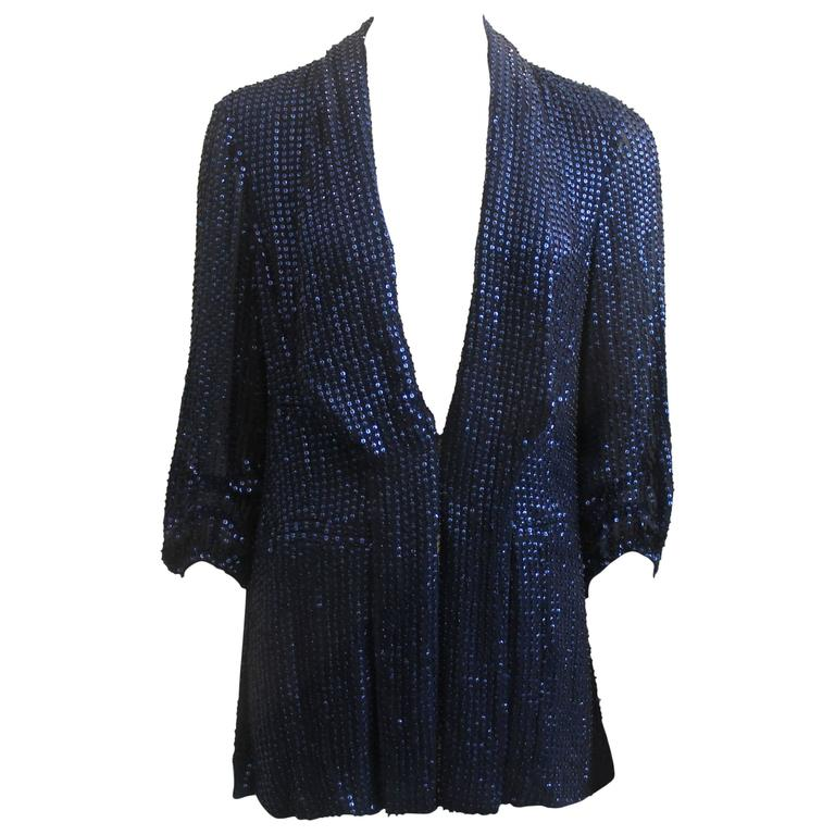 Diane Von Furstenberg Blue Sequin Loose Blouse - 6 For Sale
