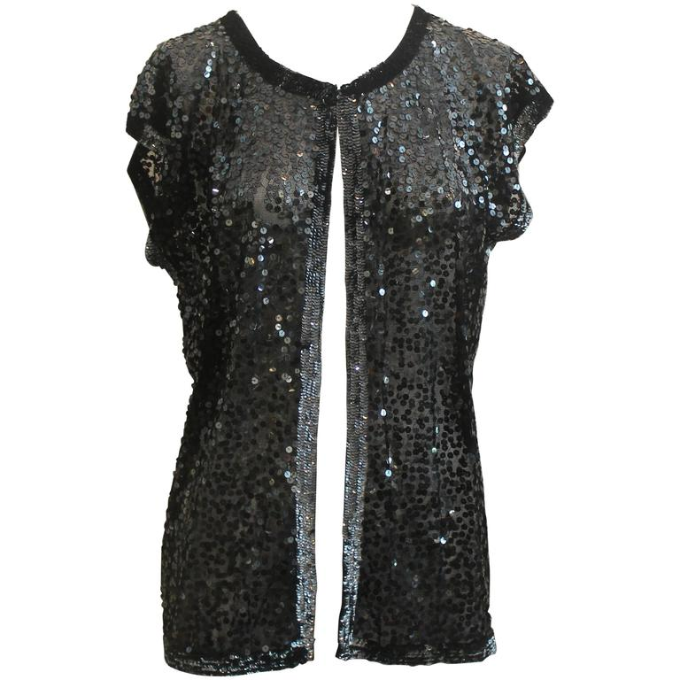 Zoran Black Sequin Short Sleeve Sweater - Medium 1