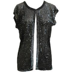 Zoran Black Sequin Short Sleeve Sweater - Medium