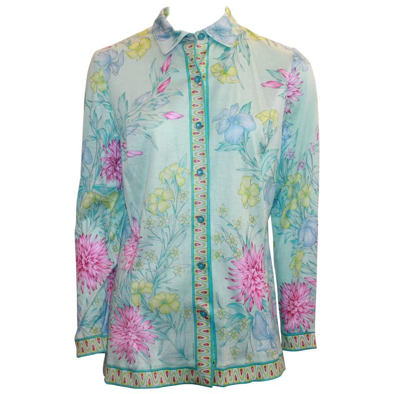Averardo Bessi Aqua & Pastels Silk Cotton Shirt - 38 For Sale