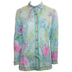 Averardo Bessi Aqua & Pastels Silk Cotton Shirt - 38