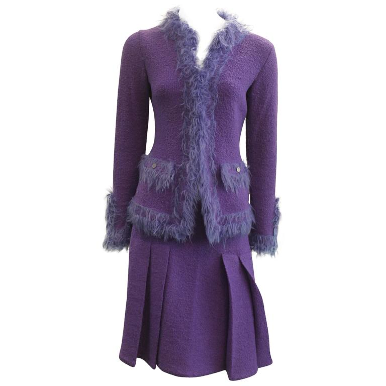 Chanel Purple Wool Skirt Suit with Faux Fur Trim - 38 - circa 1999