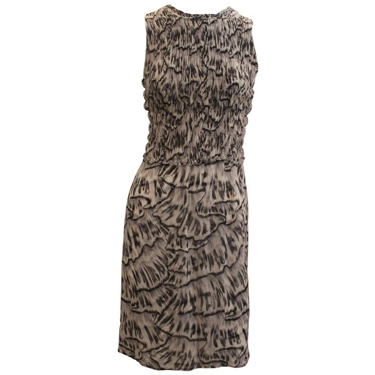 Bottega Veneta Silk Gray Animal Printed Sleeveless Ruched Dress - 40 For Sale
