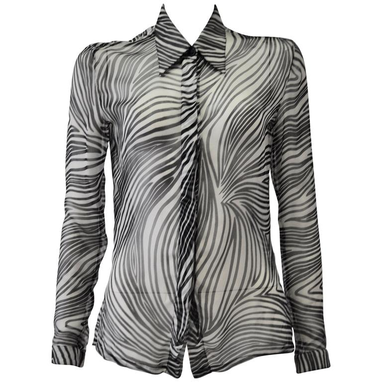 Gianni Versace Sheer Silk Zebra Print Shirt For Sale