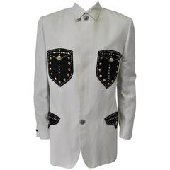 Uber Rare and Important Studded Pocket and Placket Silk/Linen Jacket