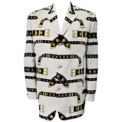 Iconic and Rare Gianni Versace Studded Belt Print Linen Men's Jacket