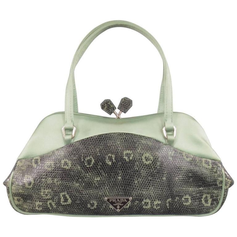 PRADA Mint Green Satin & Lizard Leather Mini Purse Handbag 1