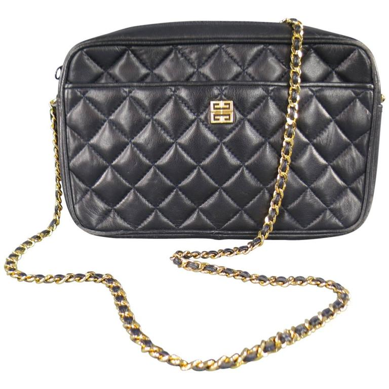 Vintage GIVENCHY Navy Quilted Leather Gold Chain Strap Cross Body Handbag
