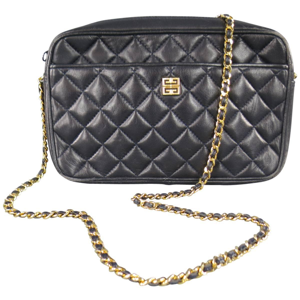 Vintage Givenchy Navy Quilted Leather Gold Chain Strap