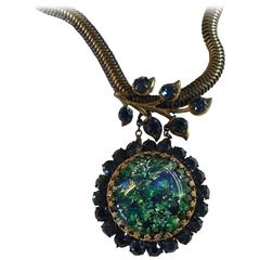 1950s MIRIAM HASKELL Slinky Chain Necklace Multicolored Rhinestone Drop