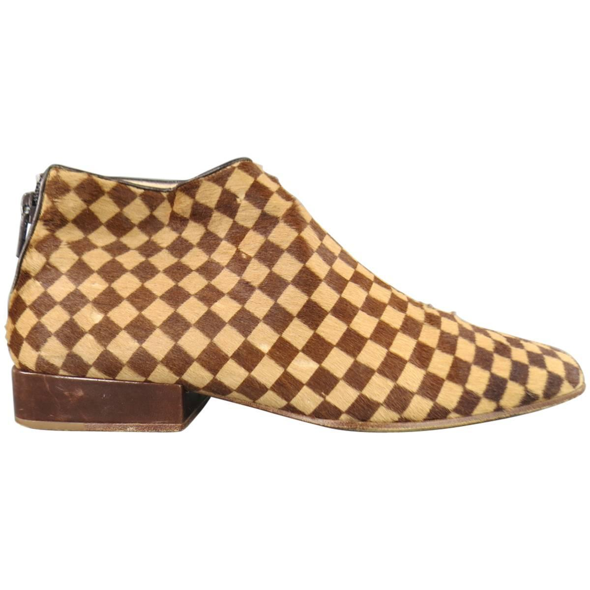 Louis Vuitton Size 7 Beige And Brown Checkered Pony Hair