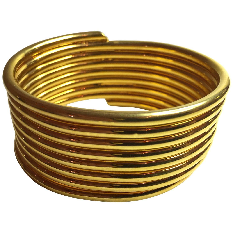 1980s Martha Sturdy 24k Goldplated Coil Bracelet For Sale