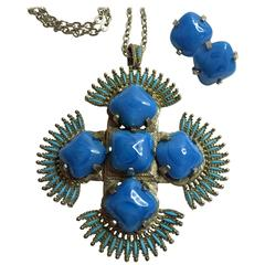 Opulent 1970s VRBA for CASTLECLIFF Iron Cross Pendant Necklace and Earrings SET