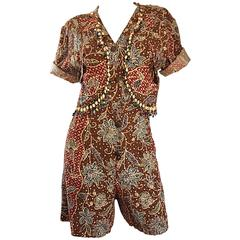 Amazing Vintage Romper Shorts Jumpsuit w/ Tribal Ethnic Print + Beads + Bells