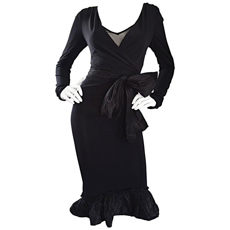 1990s Vera Wang Black Vintage Jersey Wrap Dress w/ Taffeta Mermaid Hem & Belt
