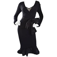 1990s Vera Wang Black Vintage Jersey Wrap Dress w/ Taffeta Mermaid Hem & Belt