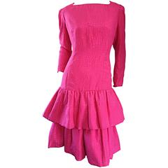 Vintage Adele Simpson for Neiman Marcus Shocking Pink Silk Crocodile Print Dress
