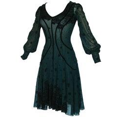 Jean Paul Gaultier Exquisite Black Sheer Mesh Cocktail Dress with Velvet Burnout