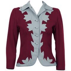 1940's Anonymous Burgundy & Blue Gabardine Jacket