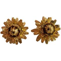 1970s MONET Ornate Flower Bud Lever Back Earrings