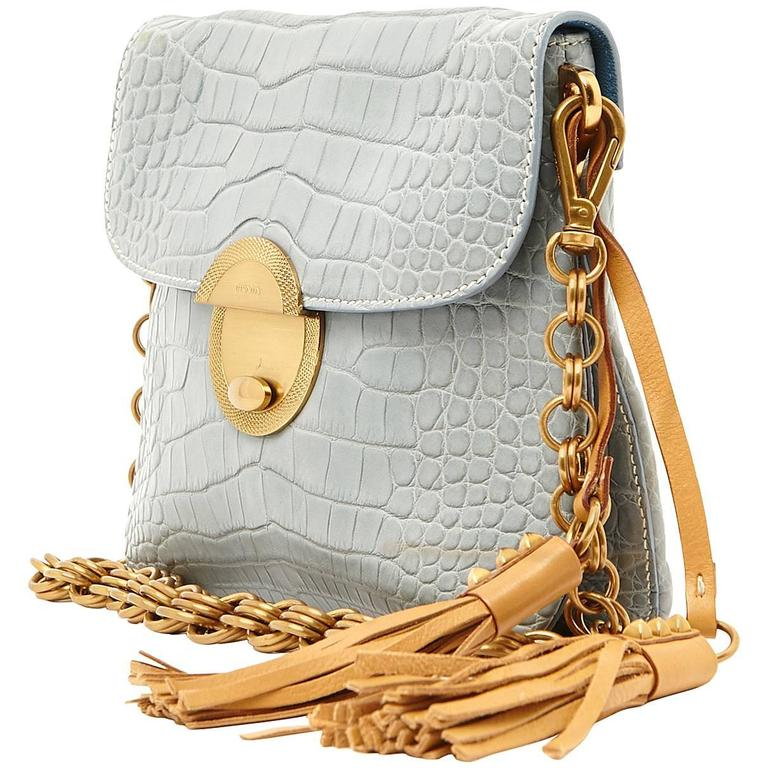 Pale Blue Prada Alligator Tassle Handbag Purse 1