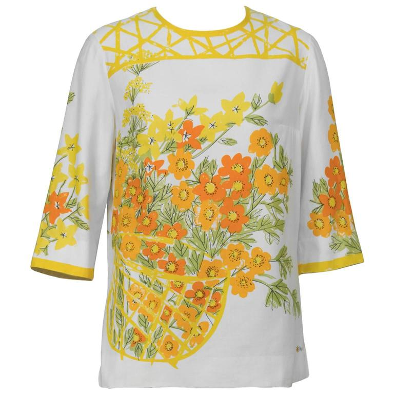 1960's Vera Cotton Marigold Blouse For Sale