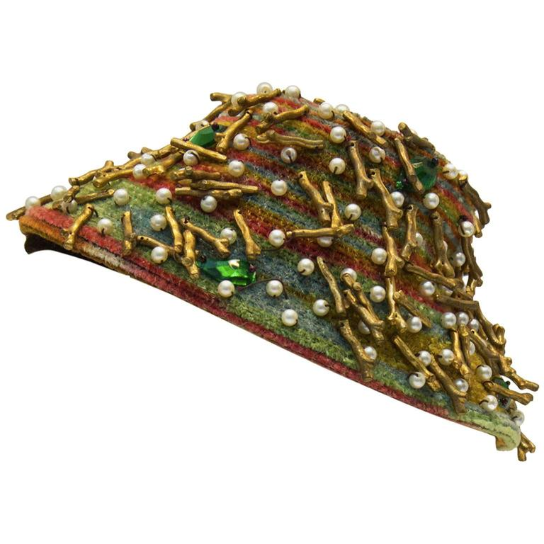 1950's Anonymous Twig & Pearl Multi Beaded Fascinator Hat 1