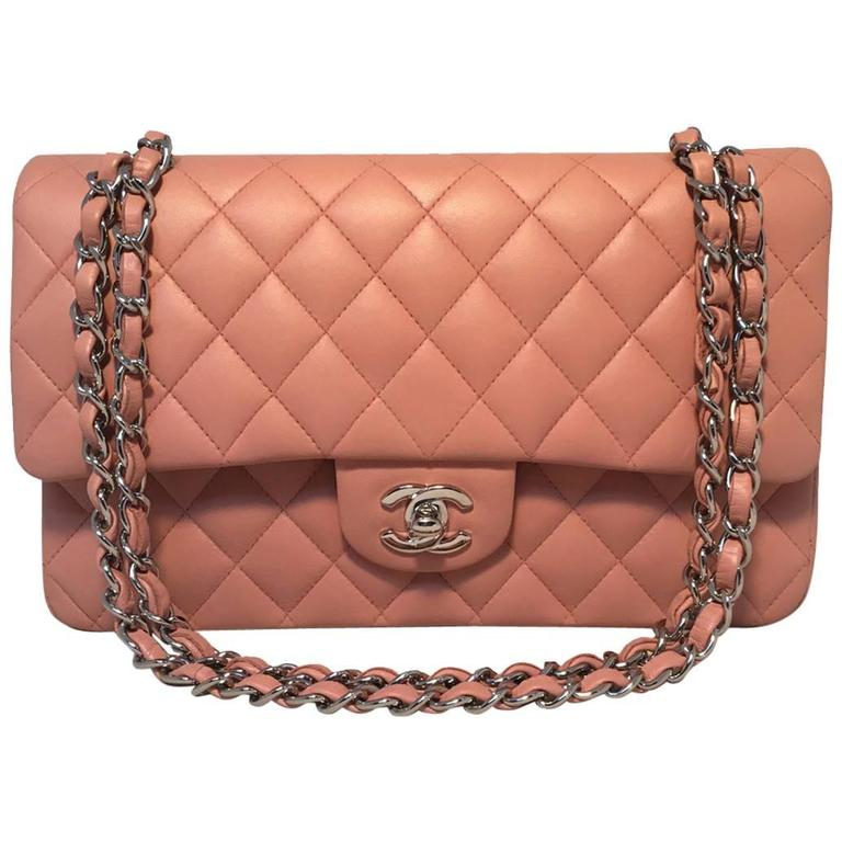 5f8a122120ebdc CHANEL Nude Pink Lambskin Double Flap Classic 2.55 Shoulder Bag For Sale