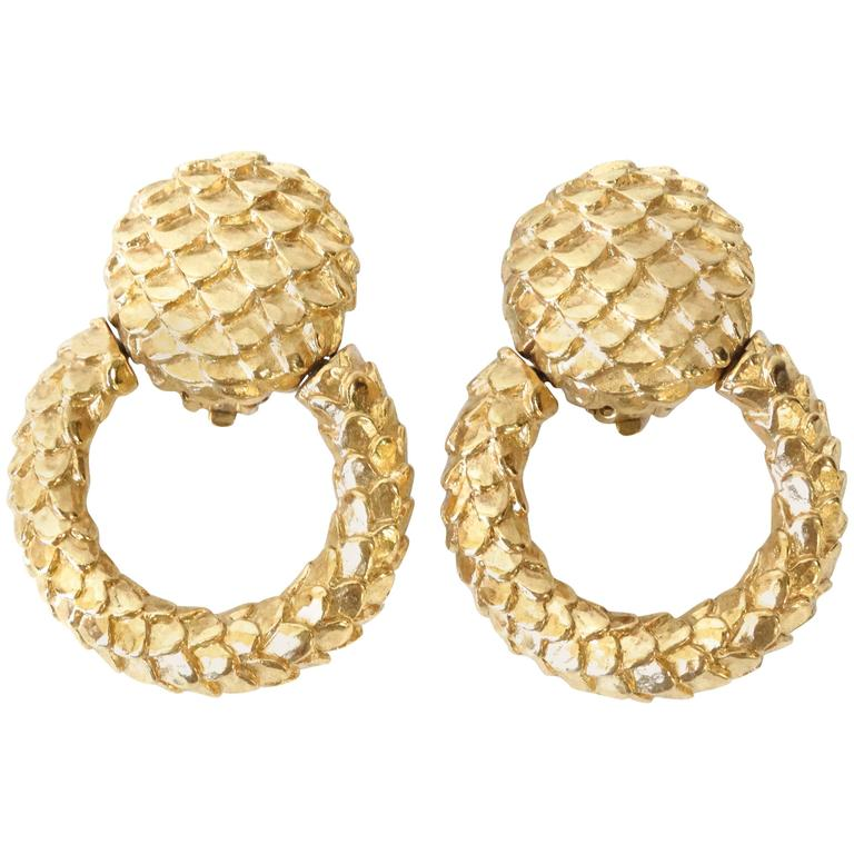 1980s Givenchy Gold Hoop Earrings For Sale